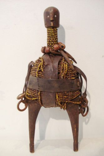 "Namji (Namje) hand carved wood /beads Fertility Doll Cameroon Africa 11"" by 4"""