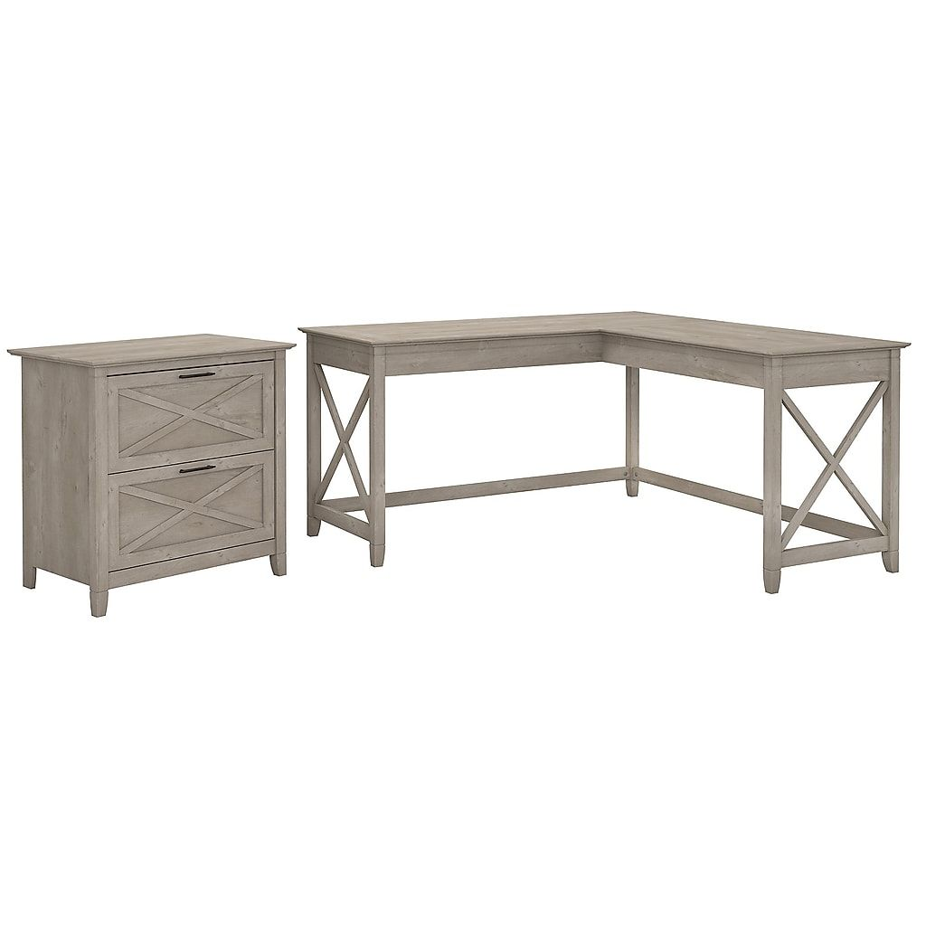Bush Furniture Key West 60w L Shaped Desk With Lateral File Cabinet Washed Gray Kws014wg At Staples In 2020 L Shaped Desk Lateral File Cabinet Bush Furniture