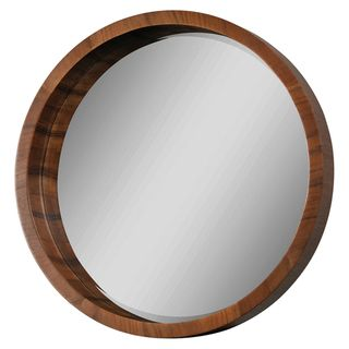 ren wil walnut frame beveled round mirror by renwil
