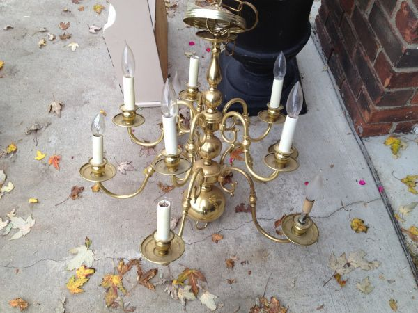 $50 This would be great painted with different bulbs maybe Oil Rubbed Bronze.     Baldwin Brass Chandelier