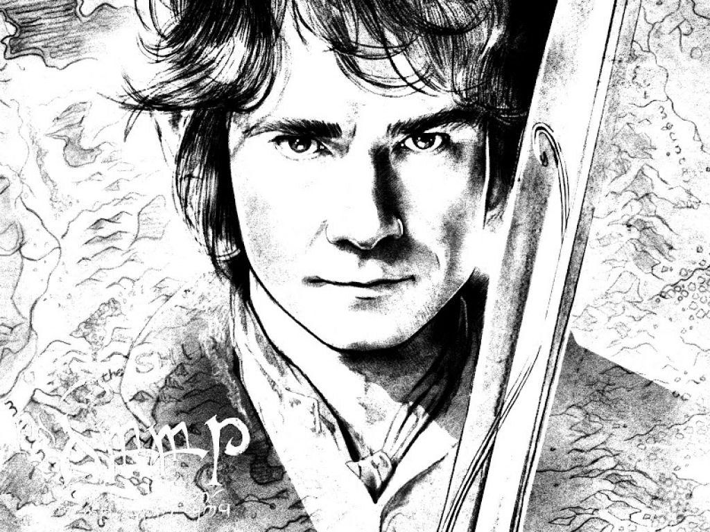 a realisic sketch of bilbo baggins from the hobbit coloring page