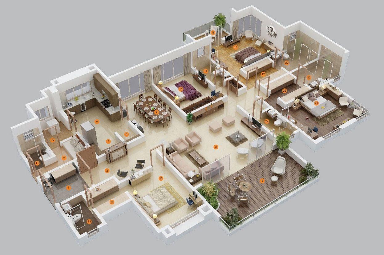 Planos para apartamentos con 4 habitaciones construccion - Planos de casa en 3d ...