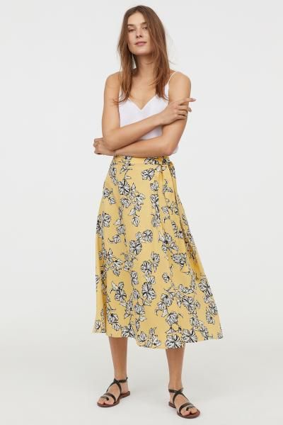 Patterned Wrap-front Skirt