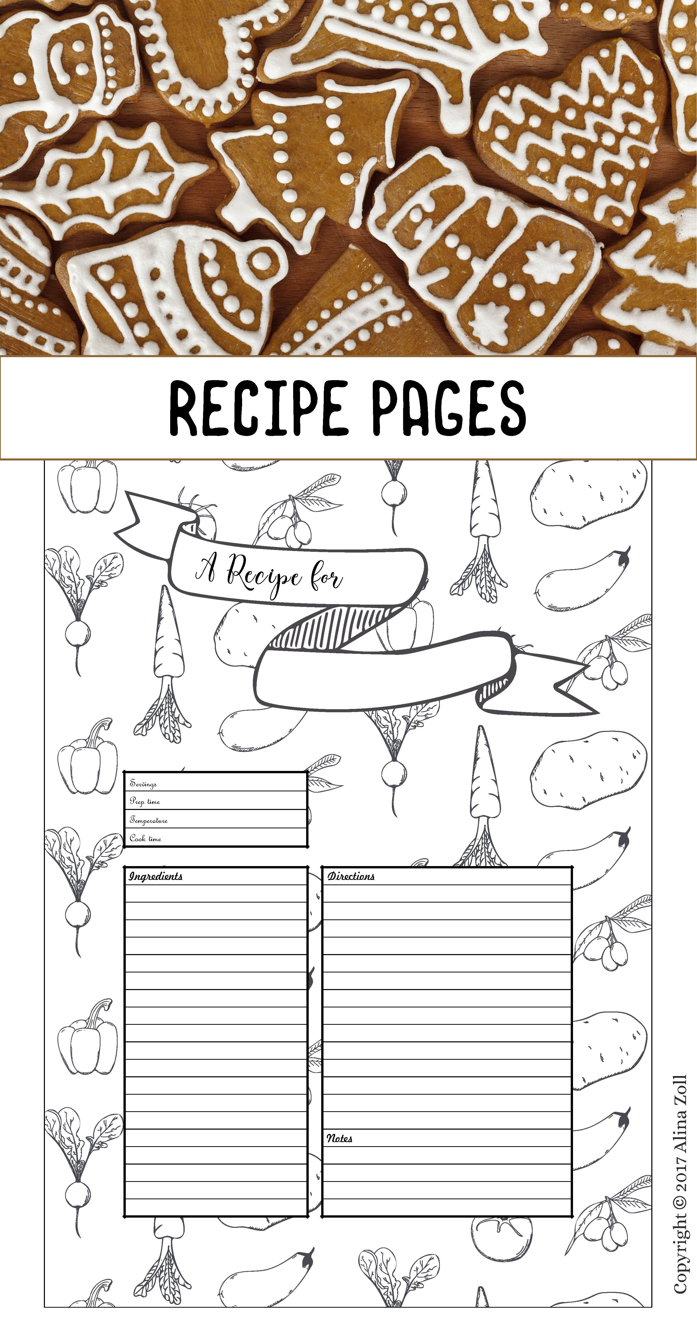 Recipe Template Printable Recipe Pages Layouts Blank Recipe Book Pdf Recipe Cards A4 Recipe Sheets Instant Download Recipe Cards Template Christmas Recipe Cards Recipe Template Printable
