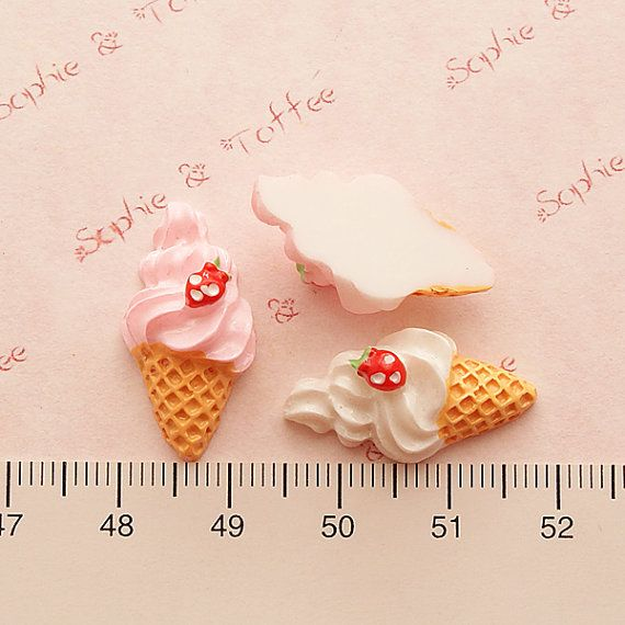 Kawaii Cabochons Whipped Cream Strawberry Ice by SophieToffeeCo, $4.80