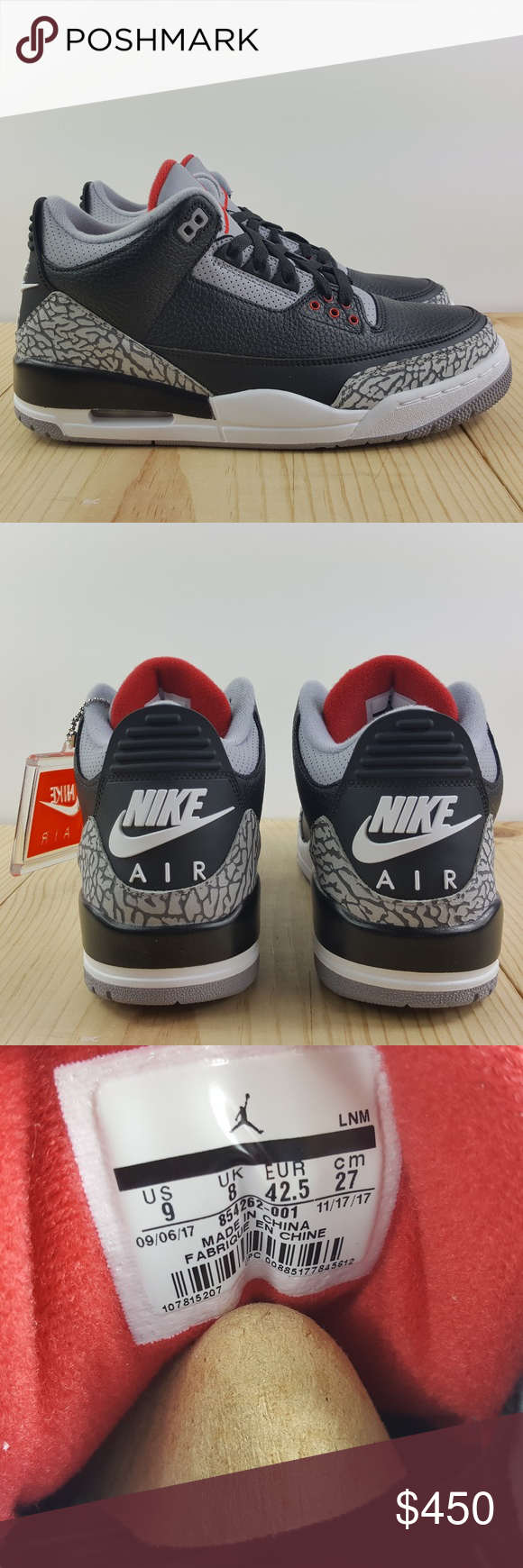 a305225968ef Air Jordan Retro 3 OG Size 9 Black Cement 2018 Brand New with Box NEVER  WORN! 100% Authentic US SIZE 9 EURO SIZE 42.5 001 Nike Shoes Sneakers