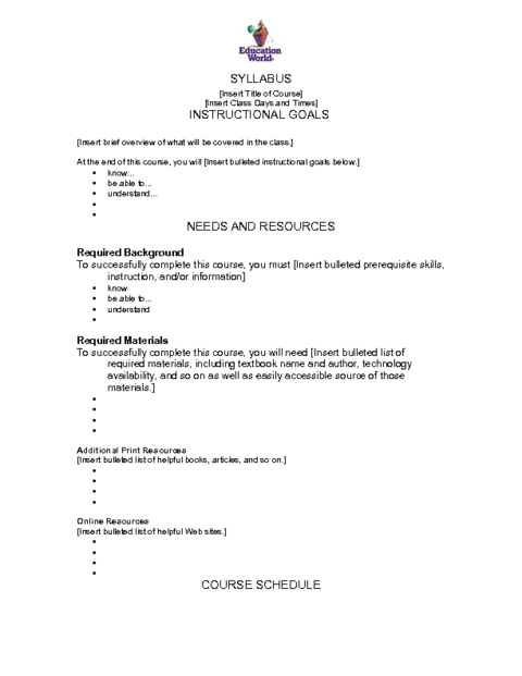 Education World Syllabus Template Syllabus Template Curriculum Template Syllabus