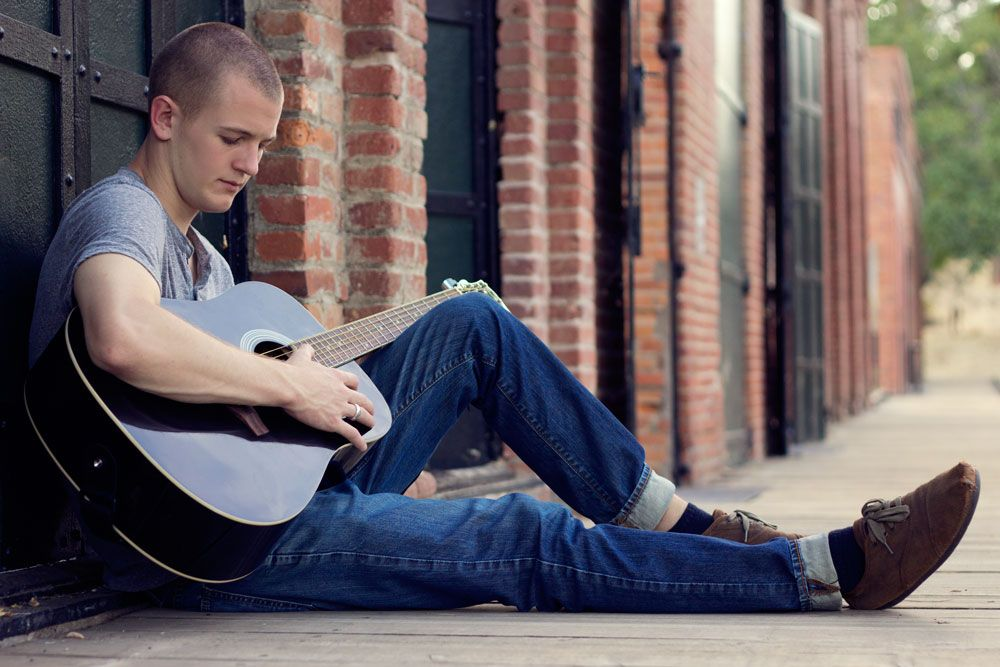 Male Senior Portrait With Guitar In Old Shasta Sara Faith Photography Redding