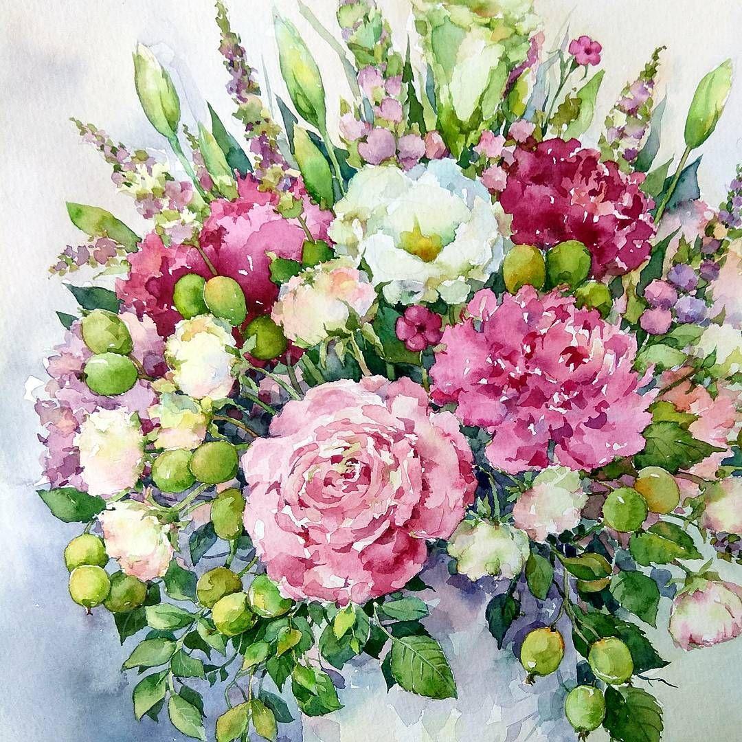 саду букет цветов картинки акварель проект создан целью