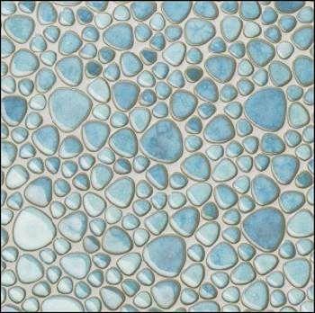 Kieselmosaik, Kiesel Fliesen, Kieselstein Mosaik Hellblau