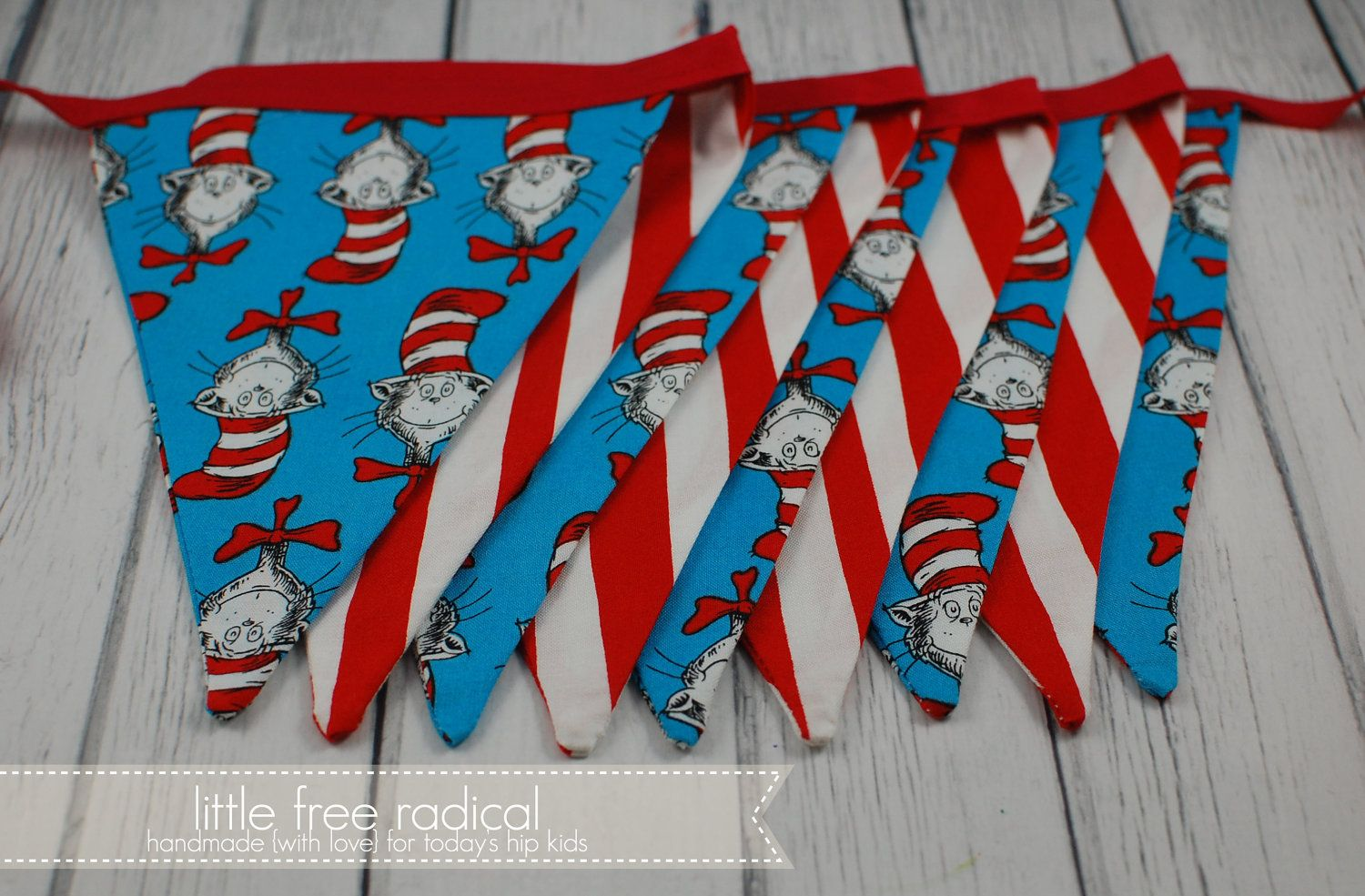 Dr. Seuss- Cat in the Hat - Fabric Pennant Bunting Banner