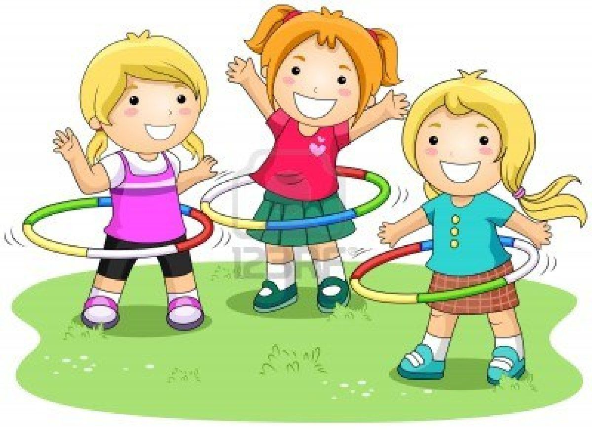 hight resolution of girls playing hula hoops