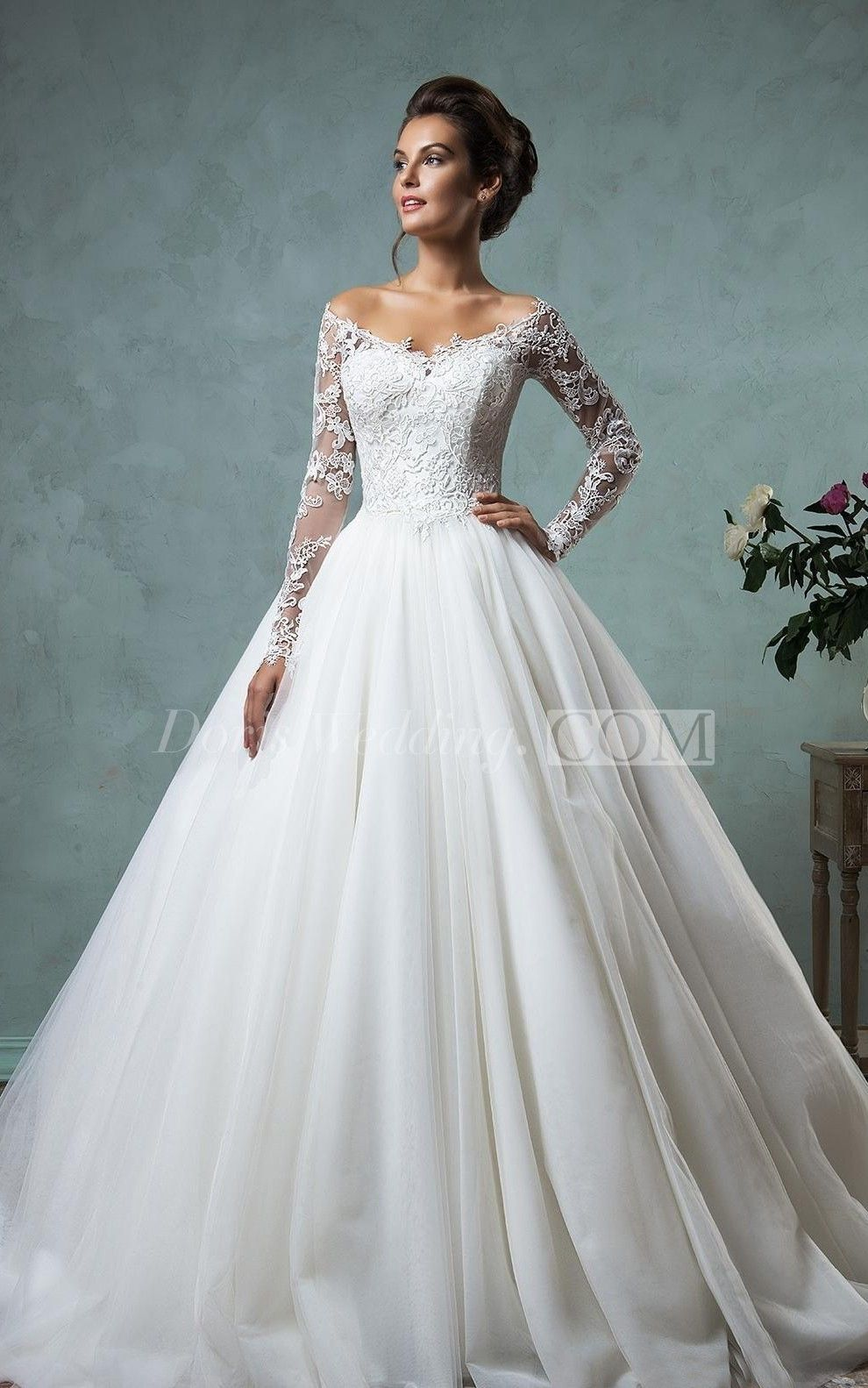 3f54b663d1 US$191.59-Sexy Off the Shoulder Lace Ball Gown Wedding Dress with Sleeves.  https