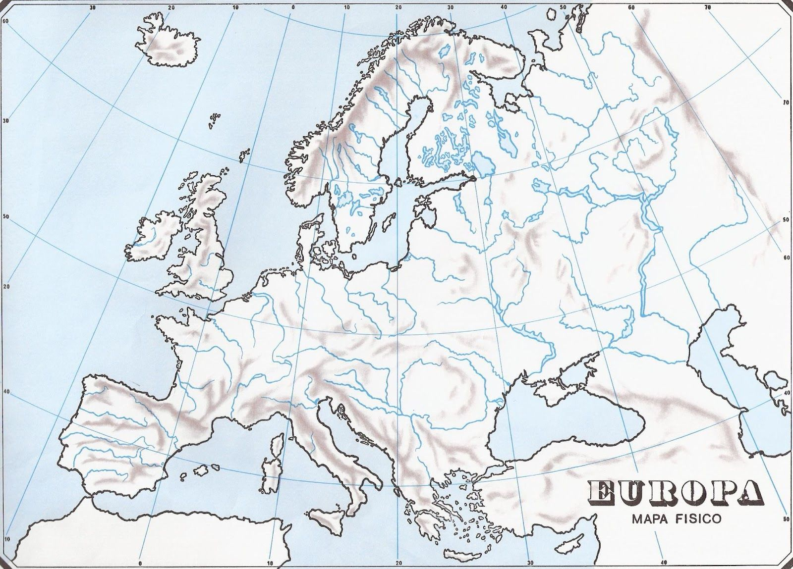 mapa mudo fisico europa imprimir - Buscar con Google | Ciencias ...