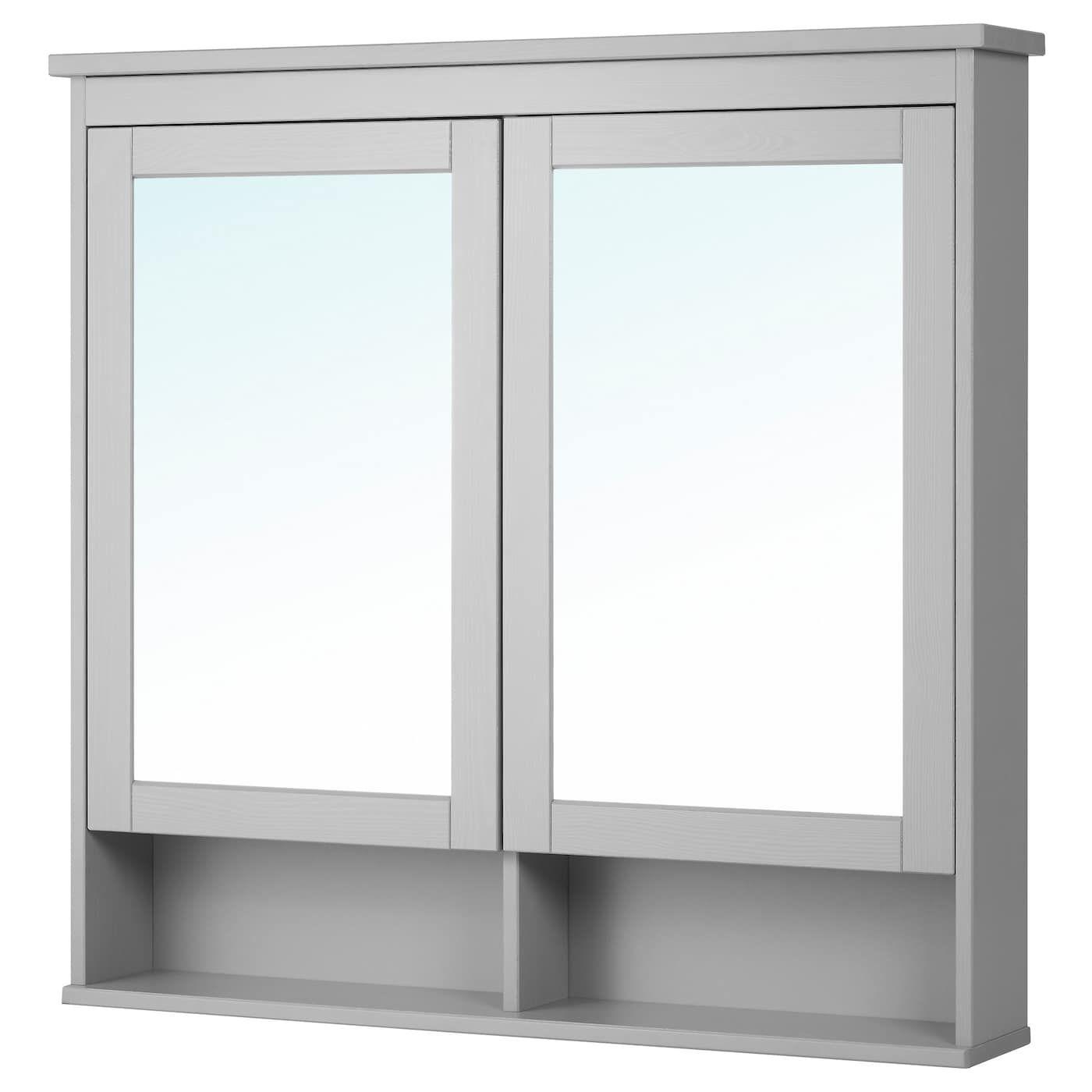 Hemnes Spiegelschrank 2 Turen Grau Spiegelschrank Ikea