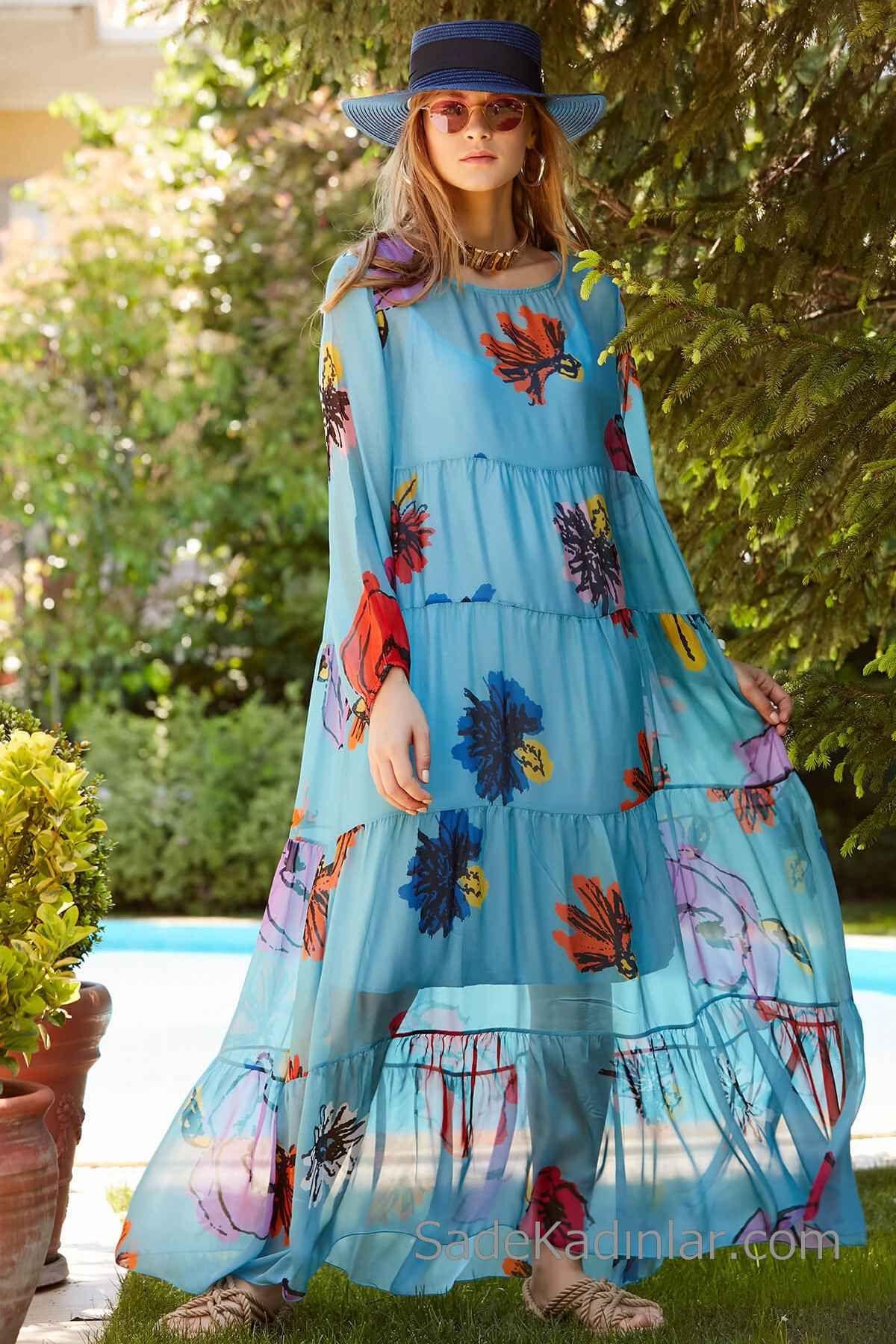Bohem Elbise Modelleri Mavi Uzun Genis Yaka Uzun Kol Desenli Elbise Modelleri Elbise Bohem Elbise