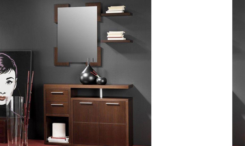 Meuble du0027entrée avec miroir et meuble à chaussures contemporain