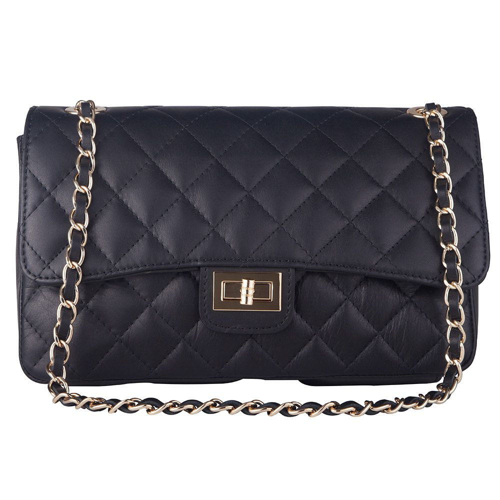 Marlafiji Bianca Black Quilted Italian Leather Shoulder Bag Free Shipping Within Australia