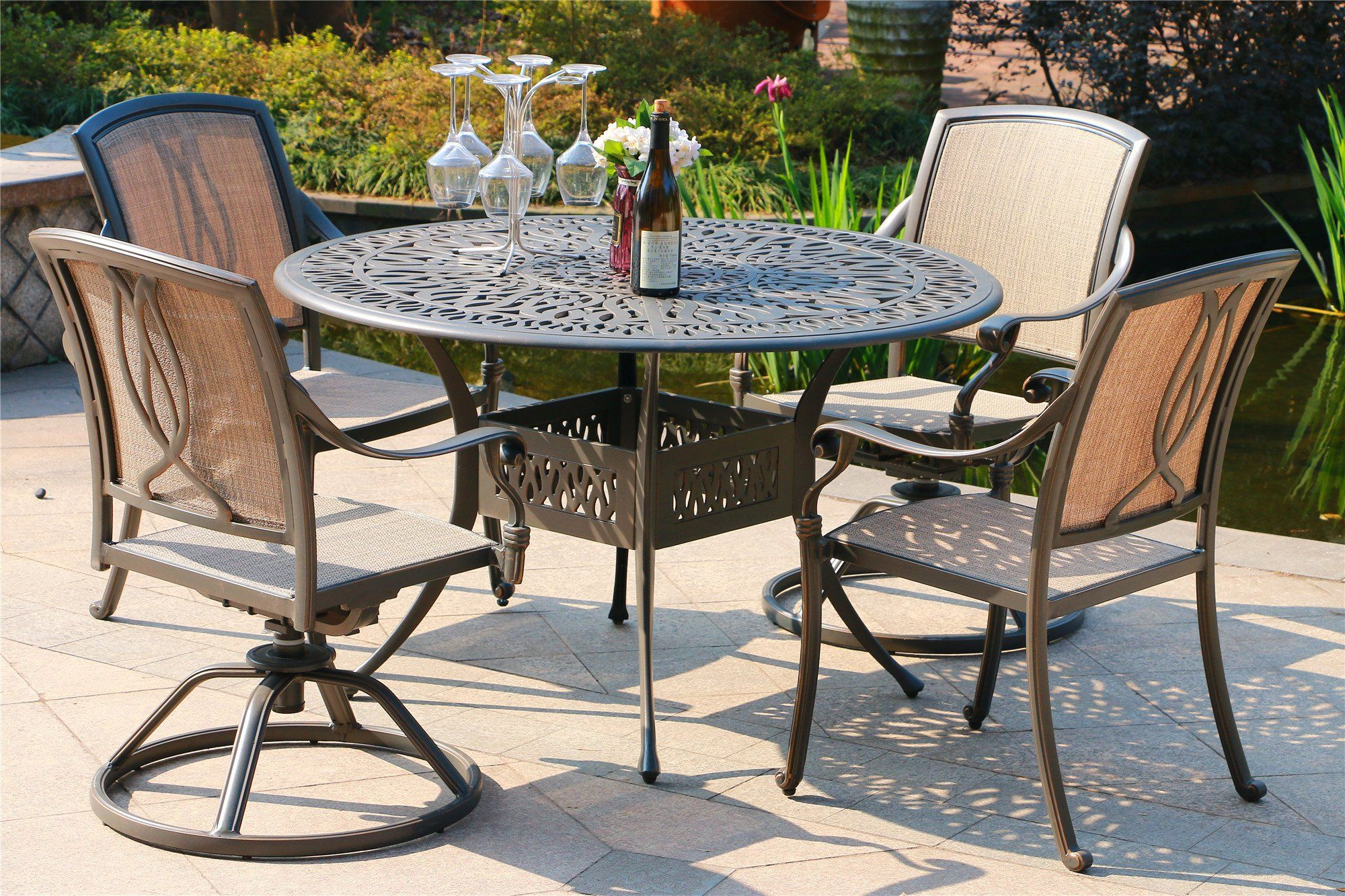Amazing Patio Athens Dining Set 5 Piece Cushioned Dining Chairs And Alphanode Cool Chair Designs And Ideas Alphanodeonline