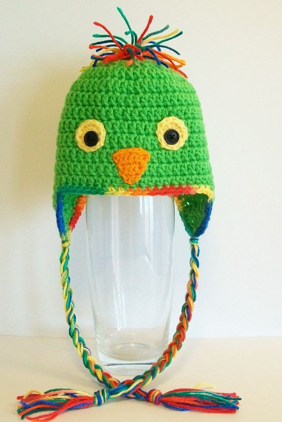 Crochet Green Parrot Hat Baby Parrot Hat Beanie by littledarlynns ...