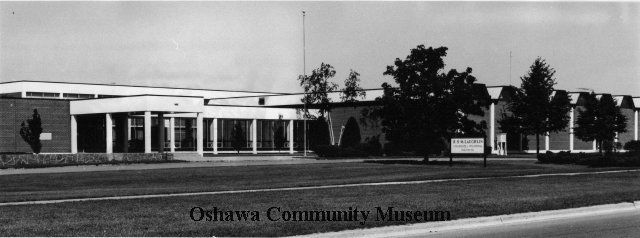 R.S. McLaughlin Collegiate and Vocational Institute, documented by photographic historian Thomas Bouckley, July 1970.  This school, located on Stevenson Road, is still open today