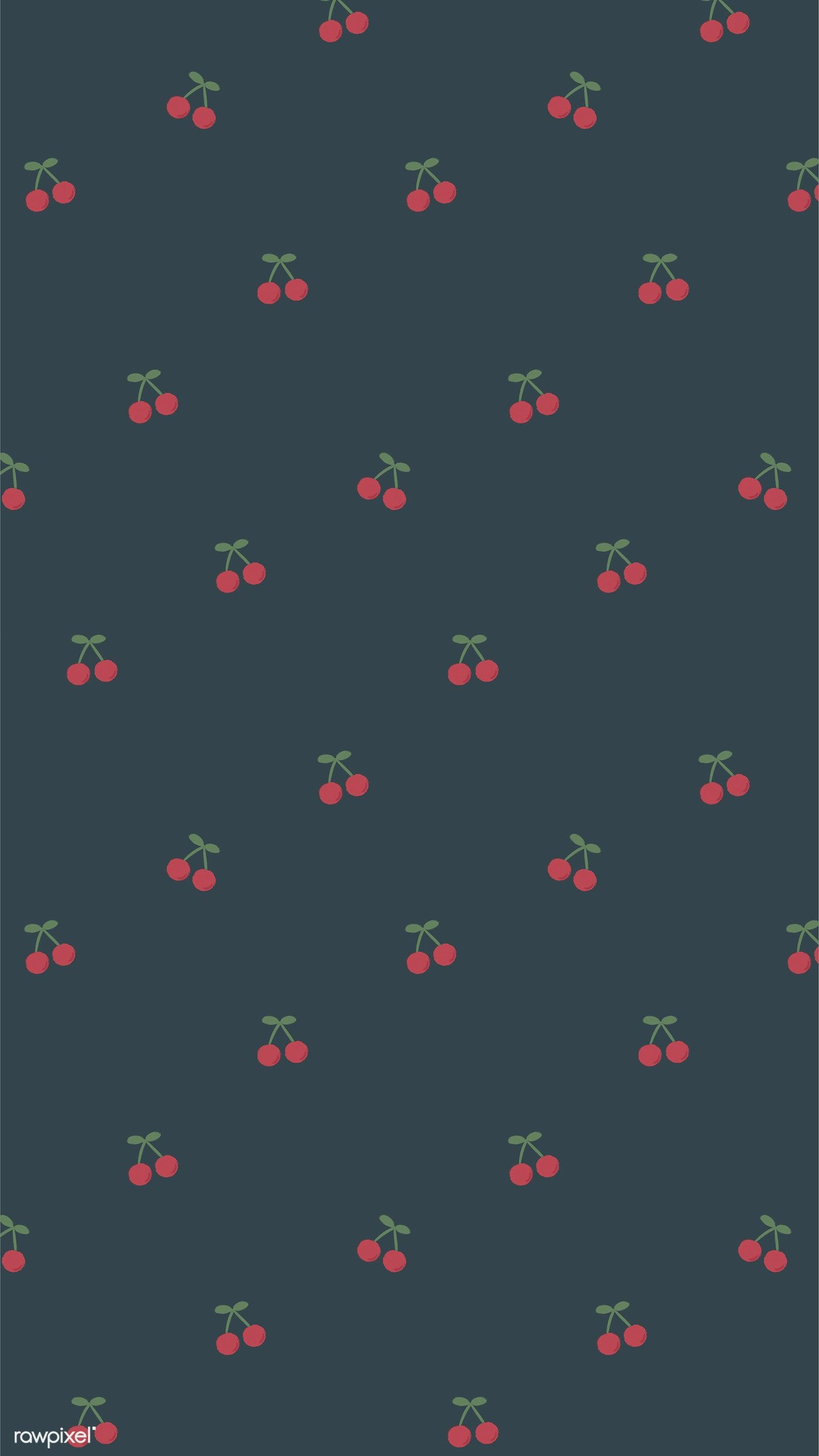 Download premium image of Red hand drawn cherry pattern on blue mobile phone wallpaper illustration by marinemynt about Cherry aesthetic mobile wallpapers, iphone wallpaper, aesthetic, android wallpaper, and backgrounds 2035429