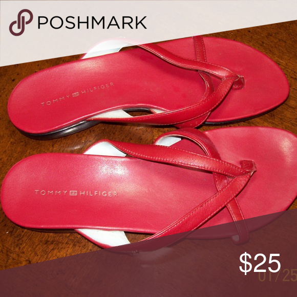 92cbd59ff Tommy Hilfiger Red Flip Flops size 6M These are like new! Show no wear.
