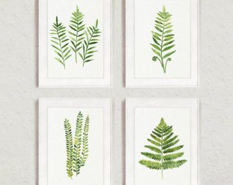 Farn, Malerei Abstrakt Blatt Aquarell Print Set 4 Blätter Küche Wand  Poster, Farne Illustration