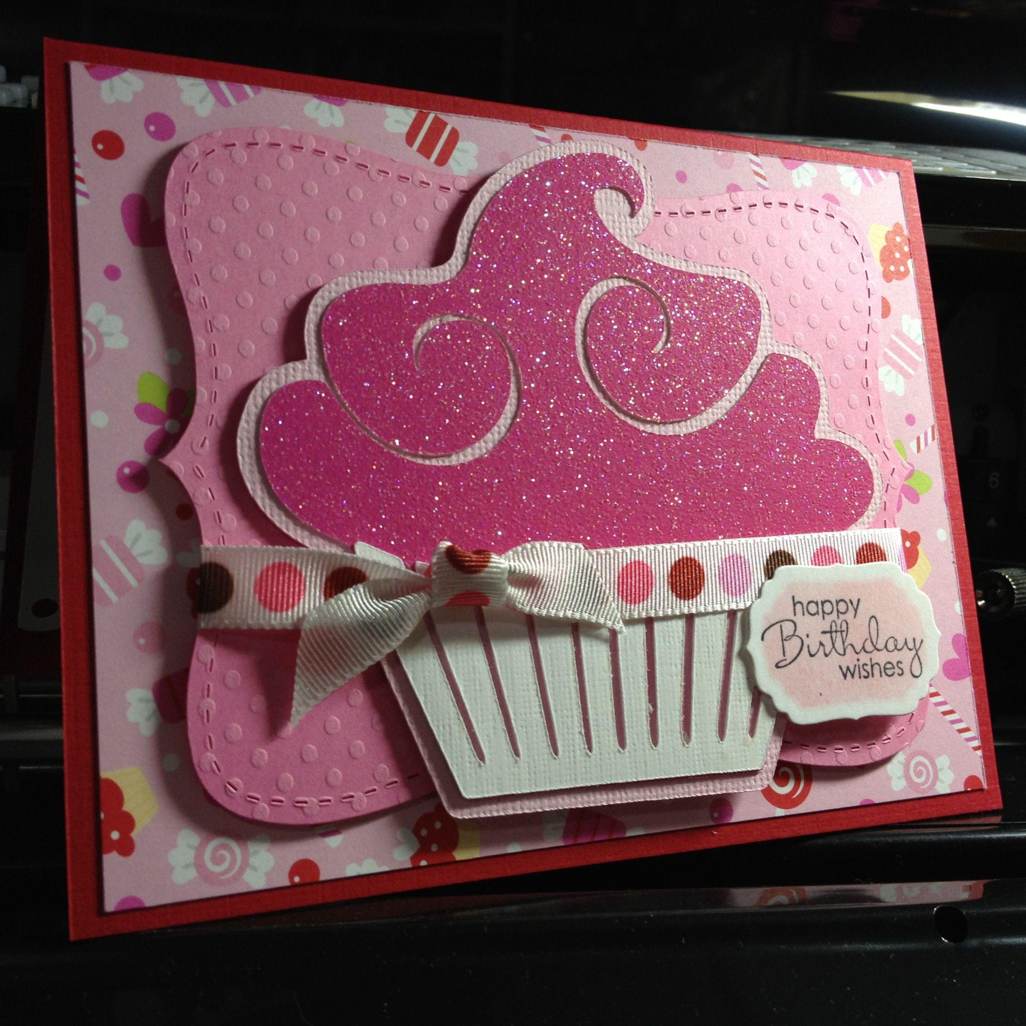 Cupcake Birthday Card Using Cricut Cake Basics Cartridge
