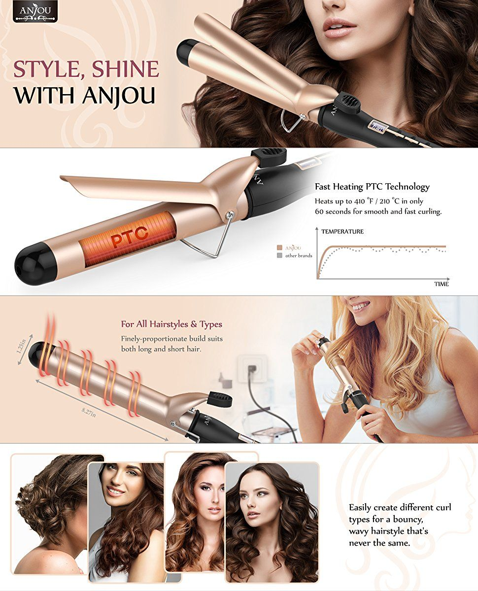 Anjou Curling Iron 1 25 Inch With Tourmaline Ceramic Coating Hair Curling Wand 200 F To 410 F For Different Curls Curling Hair With Wand Types Of Curls