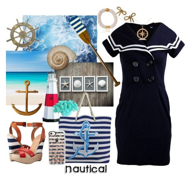 """""""Nautical"""" by allyssister ❤ liked on Polyvore featuring Marc Jacobs, Iris, Adeco, Allurez, Dsquared2, Casetify, Authentic Models and DutchCrafters"""