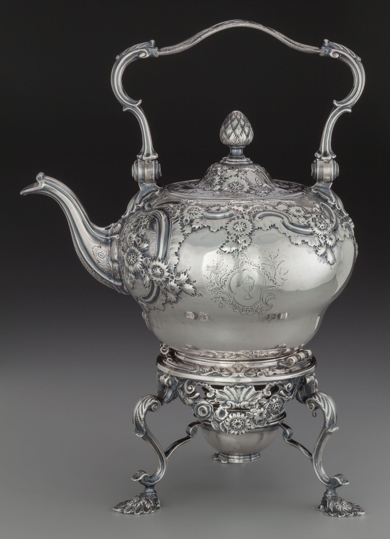 A Benjamin Gignac George II Silver Hot Water Kettle on Stand, London, England, circa 1752-1753.
