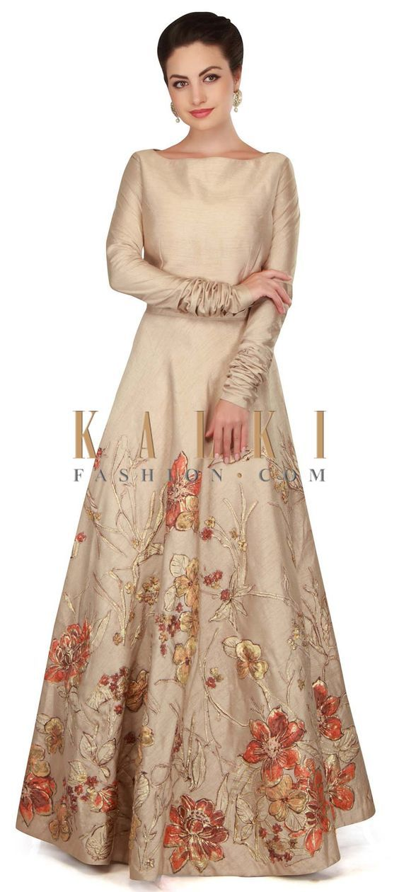 Oyster cream gown in applique floral embroidery only on Kalki ...
