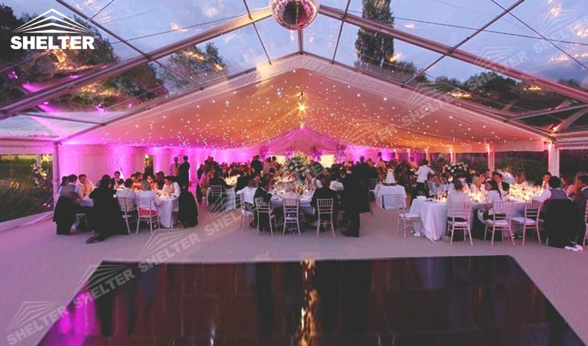 Half transparent half opaque on the top is able to seperate the hall into parts . The guests can enjoy their wonderful dinner under romantic  lighting ,while the others can dance  in the moonlight