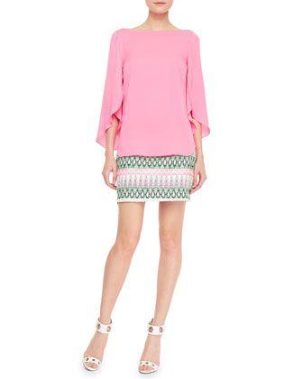Milly Tribal-Pattern-Striped Miniskirt