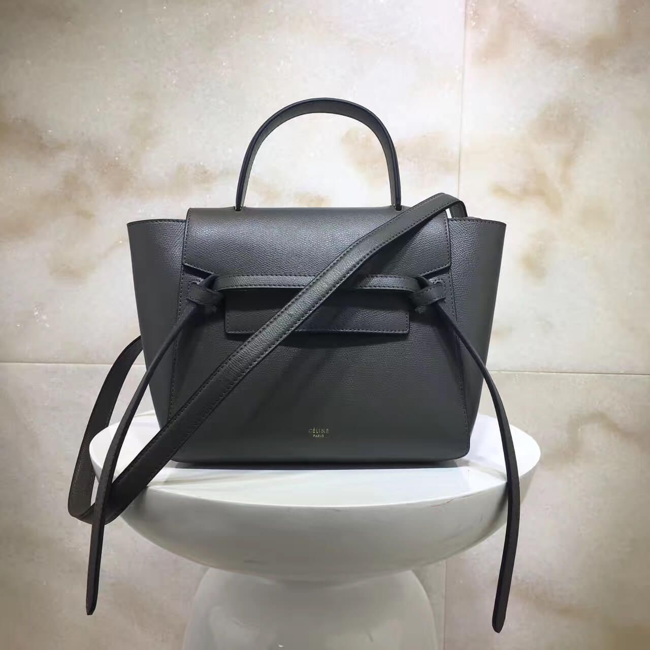 a3320e04cf Celine Micro Belt Handbag In Dark Taupe Grained Calfskin 2017 ...