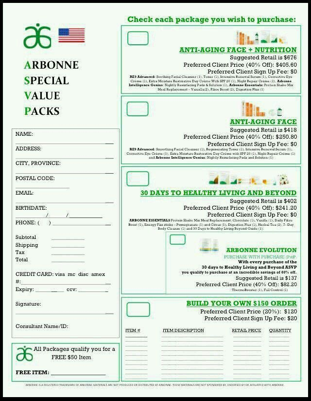 Arbonne Special Value Packs Order Forms WwwKathrynadlerArbonne