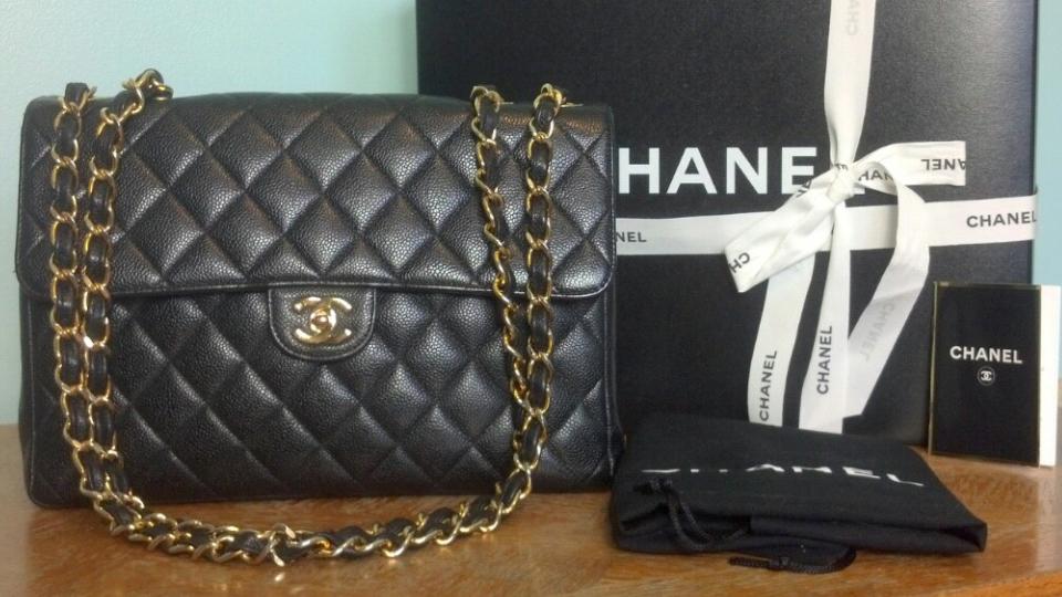 07e33bc46d45 Authentic CHANEL Vintage Black Caviar Jumbo Flap Bag GHW w/ Dust  bagBoxRibbon
