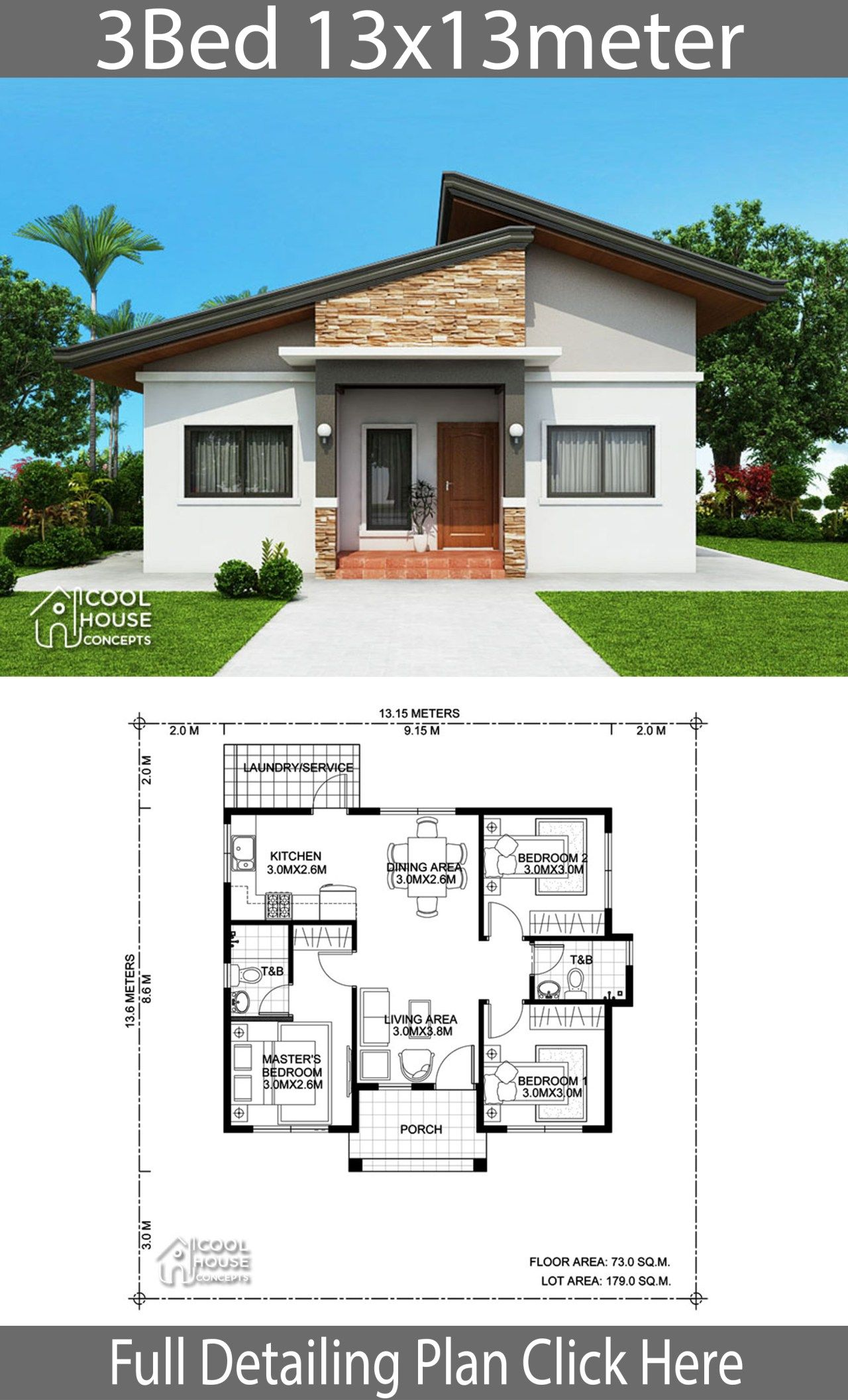 Home Design Plan 13x13m With 3 Bedrooms Modern Bungalow House