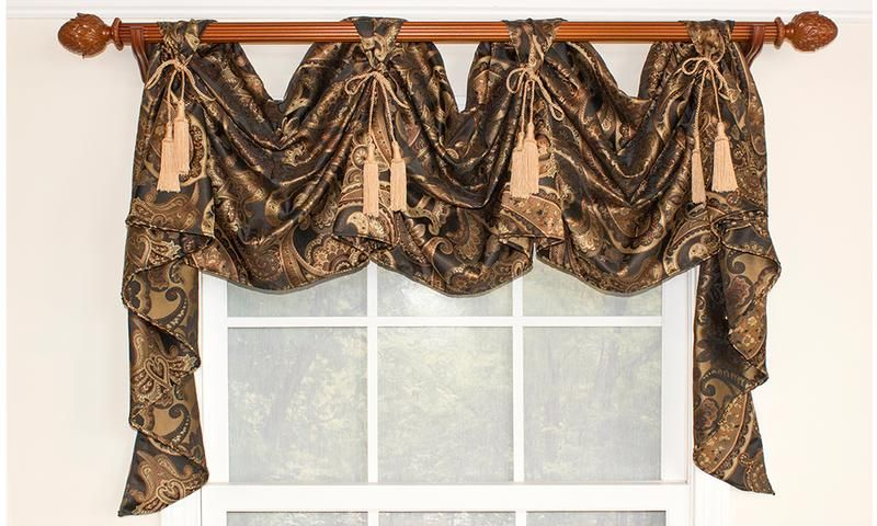 Gallant Paisley Victory Swag   RLF Home Our Gallant Paisley Victory Swag bears a stylish paisley motif; a design ornament chock-full of classic charm. Combined with chair-tie accents, this swag is a decorator's dream! Featured in Black.