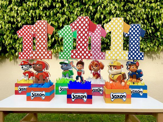 Paw Patrol Number Centerpieces For Birthday Candy Buffet Or Favors Table Handcrafted From Paw Patrol Birthday Party Paw Patrol Birthday Paw Patrol Theme Party