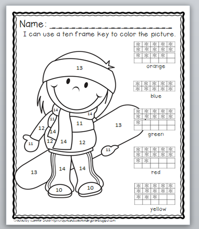 Mix color by number with reading a ten frame for this fun and – Tens Frames Worksheets