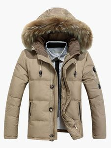 Cotton Blend Removeable Hooded Down Jacket For Men