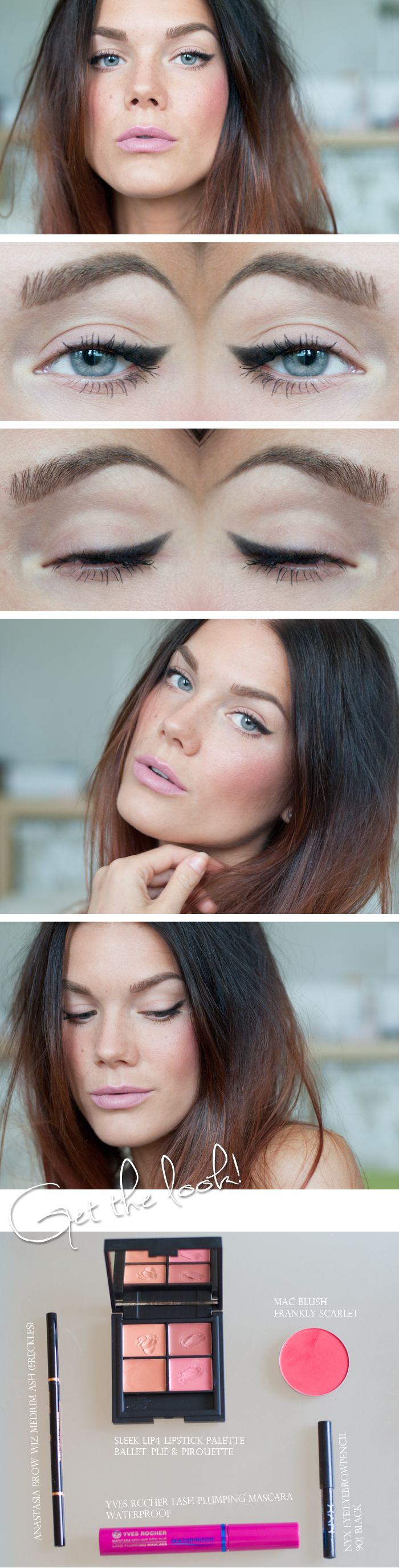 Soft cat eye, rosy cheeks and pastel pink lip