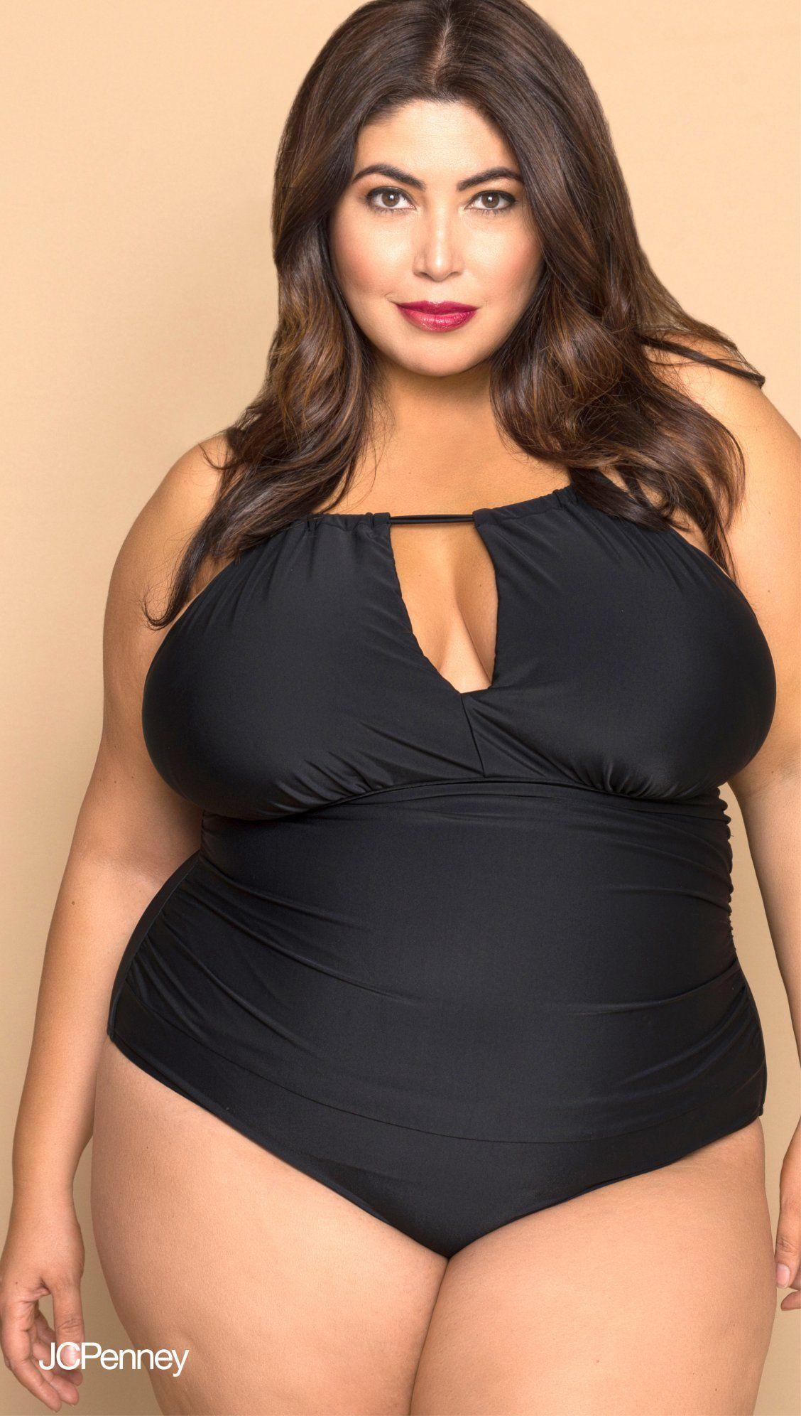 07ed3e72bb8 A black one-piece plus size bathing suit is a summer staple. This suit