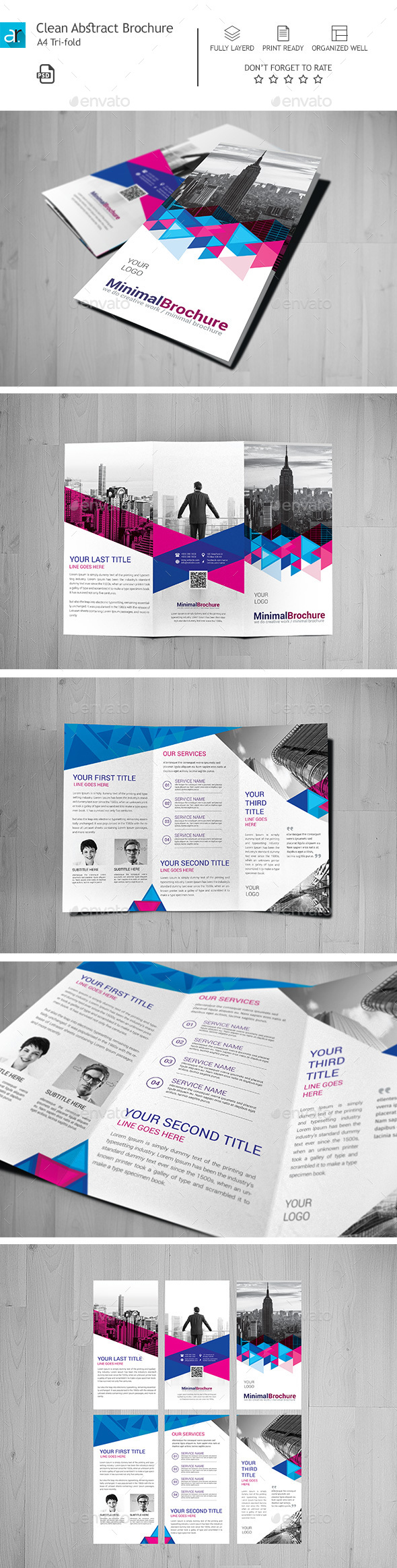 Clean Abstract Tri Fold Brochure Template Psd Design Download Http