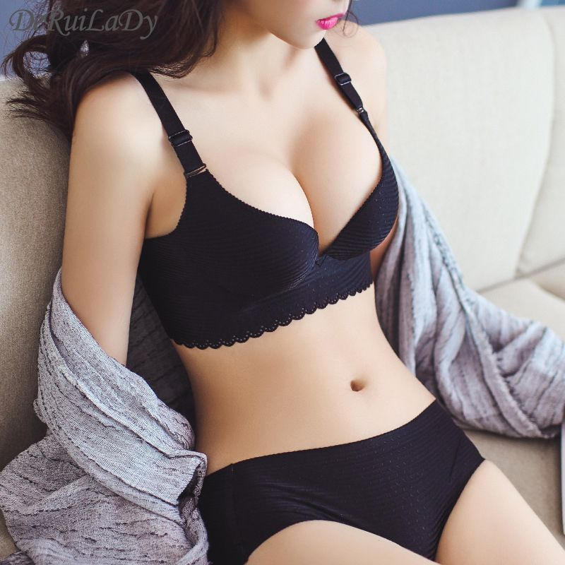 Underwear & Sleepwears Sexy Thong Womens Bra Brief Sets Fashion Push Up Woman Bra Set Bow G-string Women Deep V Gather Lingerie Lace Ladies Bra Set High Quality And Low Overhead