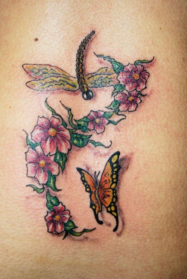 f60414b8470dc Flowers With Butterfly And Dragonfly Tattoo - Dragonfly Tattoo Designs