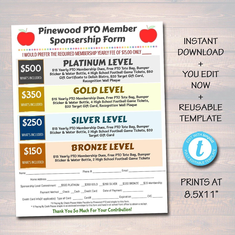 Editable Pto Pta Form Sponsership Membership Donation Signup Etsy Pta Organization Pta Pta President