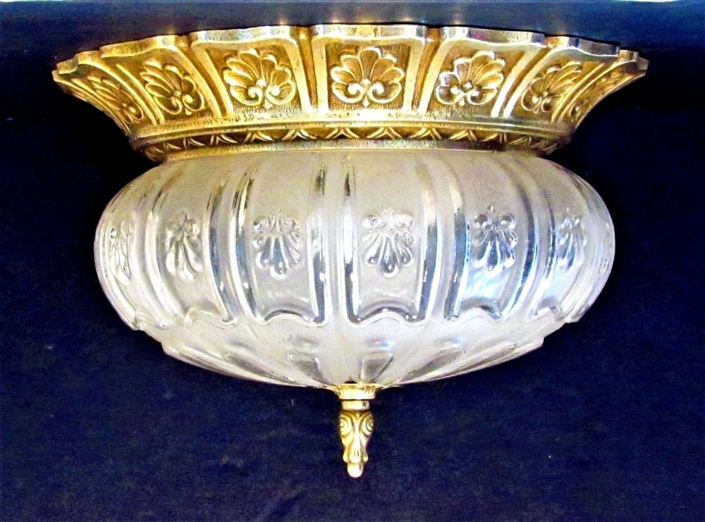 Plafoniere Vintage : Vintage bronze&crystal*plafoniere*dome glass ceiling flushmount